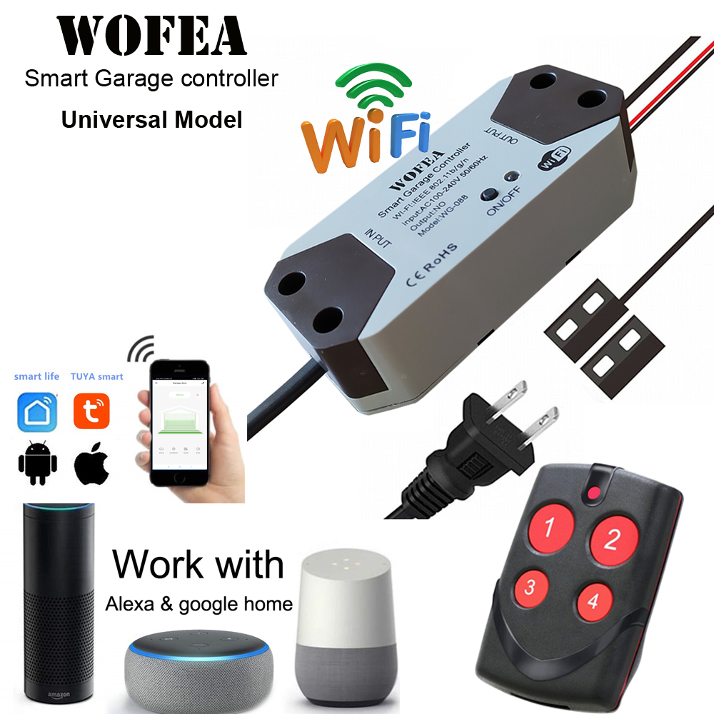 Wofea Universal Smart Garage Door Opener Controller For Assurance+2.0 Opener Work With Alexa Echo Google Home No Hub Require