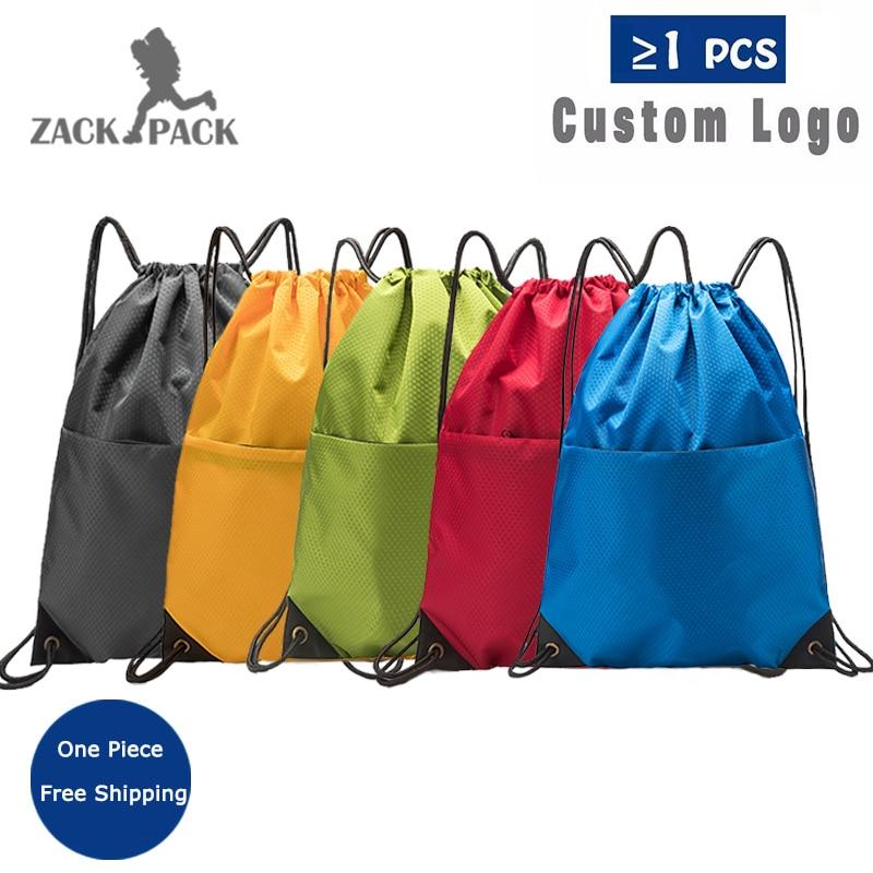 Zackpack Sports Drawstring Backpack Custom Logo Waterproof Bundle Pocket Drawstring Backpack Print Custom