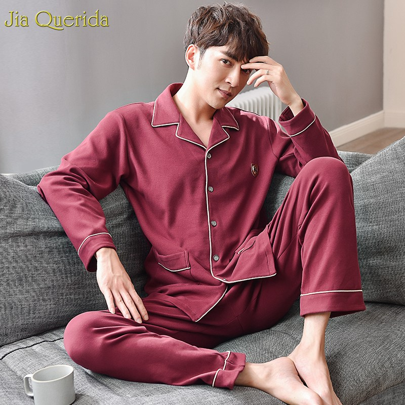 Pajamas For Men Jujube Red Elegant Men Pajama 100% Cotton Long Sleeves Pant Two Pieces Sleepwear Autumn Winter Home Clothes Suit