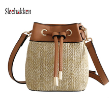 Beach bag bucket type straw bag portable diagonal shoulder bag crossbody bags for women Summer woven female bag 2019 new female shoulder portable diagonal four pieces large bucket bag