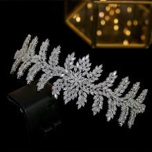 ASNORA nuovi accessori per capelli da sposa di lusso con diadema da sposa, diadema di zirconi cubici, corone, gioielli per capelli