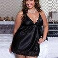Сексуальное эротическое ночная рубашка размера плюс 6XL Дамская Мода Кружевное платье в стиле пэчворк с v-образным вырезом с низким вырезом н...