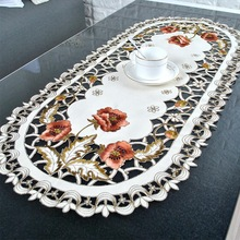 Fabric Table-Cover Embroidered Banquet Home-Decoration Vintage Wedding Party Oval