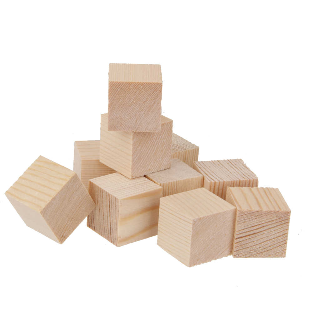 Pack of 10 Natural Wooden qure Cubes Embellishment for Craft 25x25x25mm
