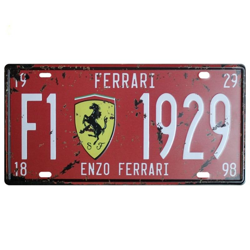 Car Plate USA Vintage Metal Tin Signs Car Number License Plate Plaque Poster Bar Club license plate frame holder for Ferrari