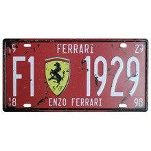 цена на Car Plate USA Vintage Metal Tin Signs Car Number License Plate Plaque Poster Bar Club license plate frame holder for Ferrari