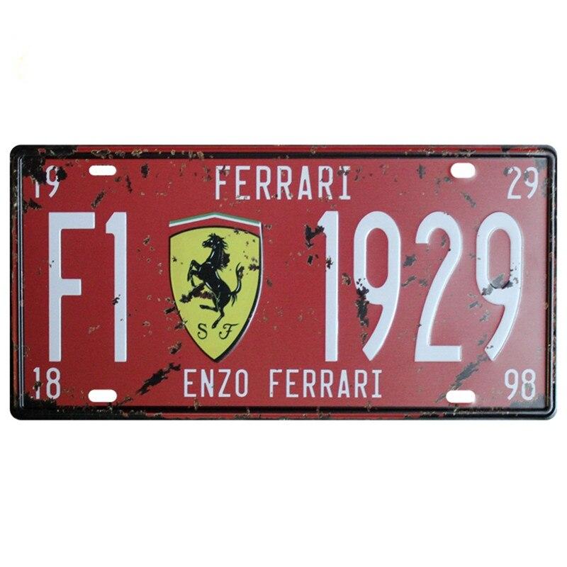 Plaque de voiture USA Vintage métal étain signes numéro de voiture Plaque d'immatriculation Plaque affiche barre Club Plaque d'immatriculation support de cadre pour Ferrari