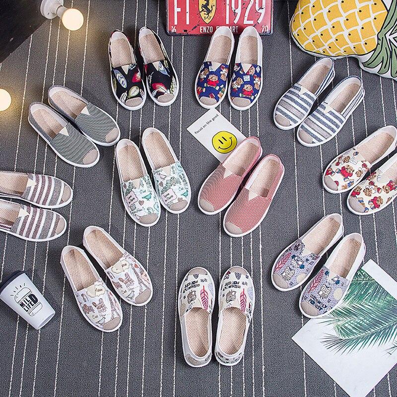 Hot Woman Flats Espadrilles Owl Ladies Loafers Canvas Female Low Footwear Korean Shoe Brands Lady Comfort Shoes Vintage Sapato