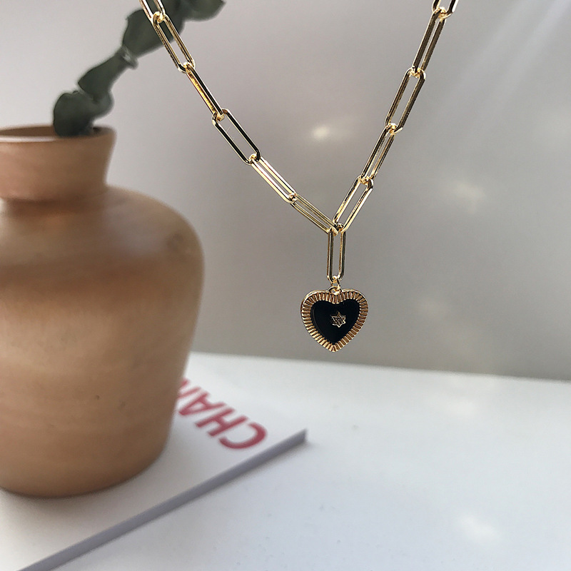 Silvology 925 Sterling Silver Natural Black Agate Heart Pendant Necklace Star Minimalist Necklace For Women 925 Birthday Jewelry