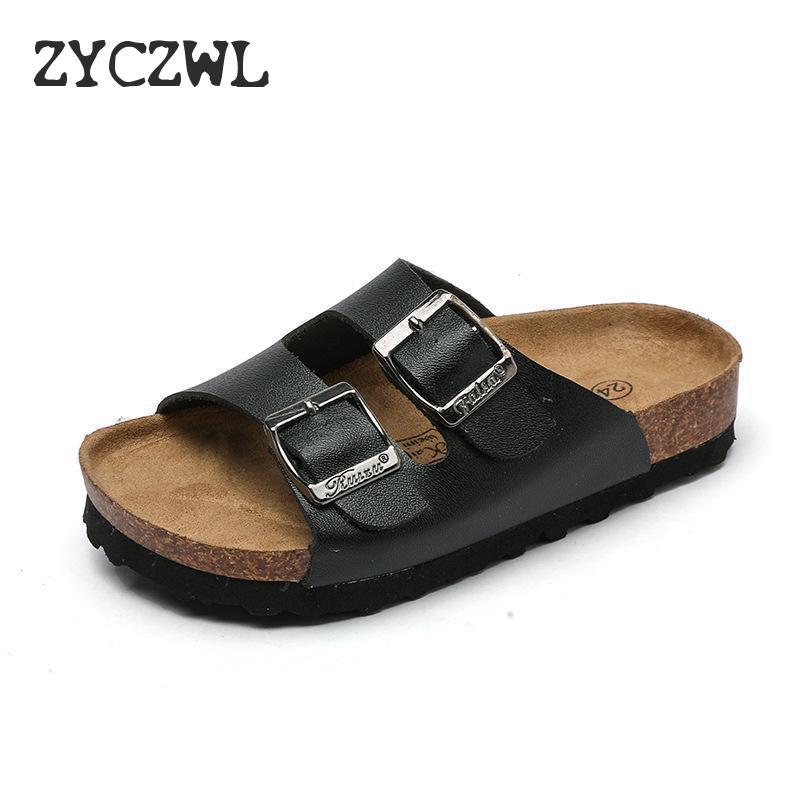 Nowe letnie chłopięce kapcie dla dzieci korkowe sandały Outdoor antypoślizgowe miękkie skórzane dziewczęce buty na plażę moda dziecięca Sport Slipp