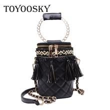 TOYOOSKY 2019 Fashion PU Women Bucket Bag Vintage Tassel Messenger Bag High Quality Retro Shoulder Bag Simple Crossbody tote