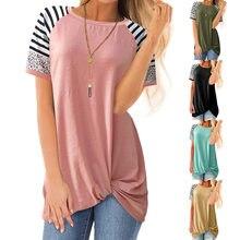 2021 Women Short Sleeve T Shirts New Stitching Stripes Leopard Irregular Kink Round Neck Tee Top Cross Border Summer Loose Cloth
