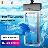 Ihuigol-funda impermeable Universal para teléfono móvil, IPX8 resistente al agua, 30m de profundidad, bolso para teléfono inteligente con correa para el cuello 7 pulgadas