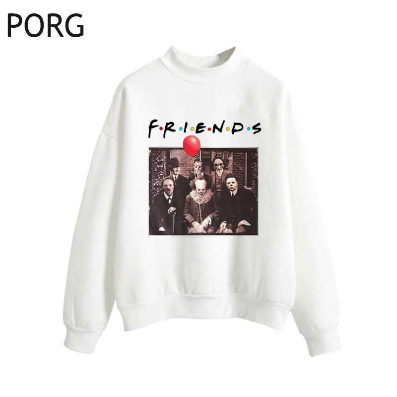 Horror Pennywise przyjaciółmi Michael Myers (florida), stany zjednoczone Jason Voorhees Halloween kobiety biały/różowy bluzy z kapturem Streetwear gotyk Sudadera Mujer 2019