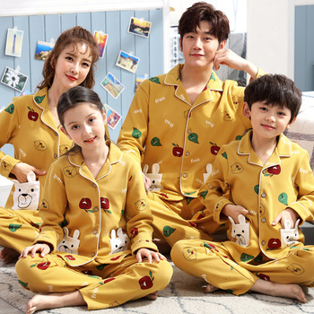 Spring summer Family pajamas cotton Long-sleeved Sets with Floral Print Fashion Women Men boy girl Two Pieces Nighties Sleepwear