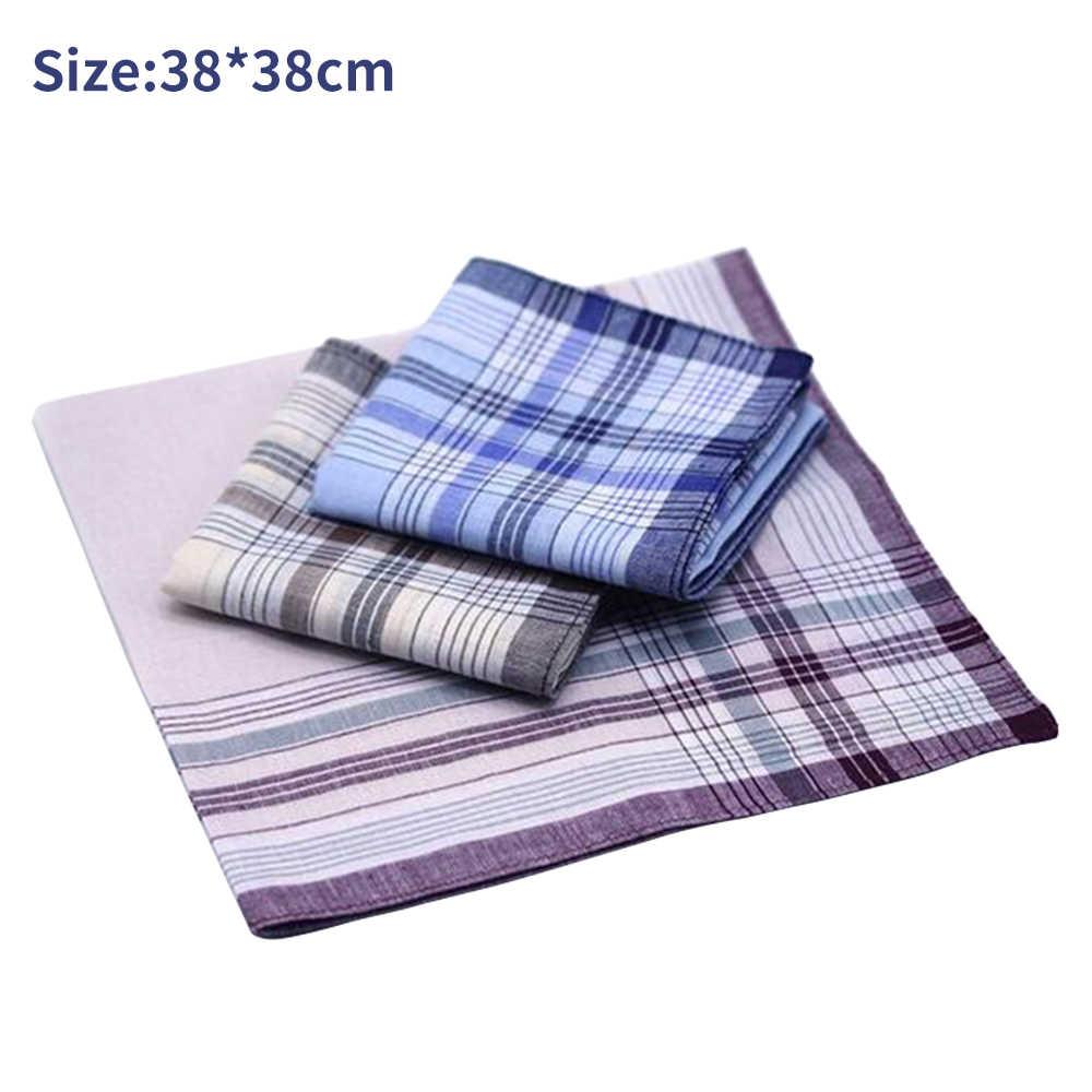 5Pcs Square Plaid Stripe Handkerchiefs Hanky Pocket Cotton Towel 38*38cm Random