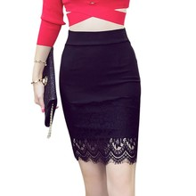 Lace Stitching Skirt Black Sexy Slim Women's Fashion Exquisite Cotton Bodycon Skirt Pencil Sexy & ClubPatchwork Mini Skirt local focal black fashion exquisite handmade lace handbag