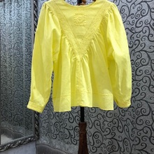 100%Linen Tops 2021 Summer Style Women O-Neck Exquisite Embroidery Long Sleeve Casual Loose Tops Yellow White Black Blouse Femme