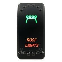 12V 24V,ปิด,สีเขียว & ลงสีแดง Led Backlit หลังคา เลเซอร์ Rocker สำหรับรถเรือรถบรรทุก Push สวิทช์
