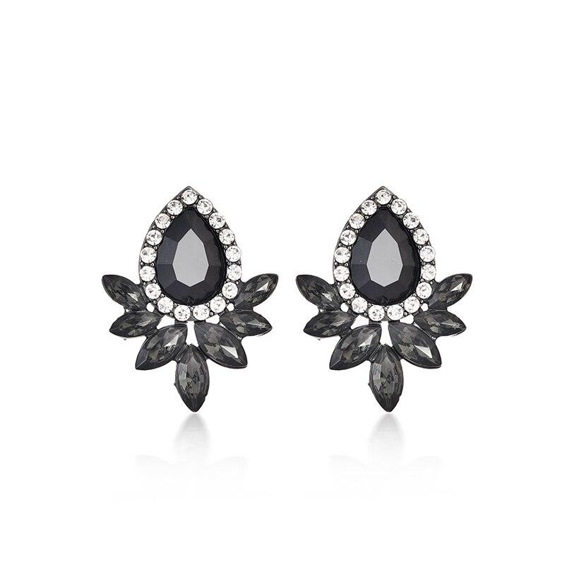 Черный камень кристалл цветок капля серьги для женщин мода золото роскошь свадьба стразы серьги современные ювелирные изделия подарок