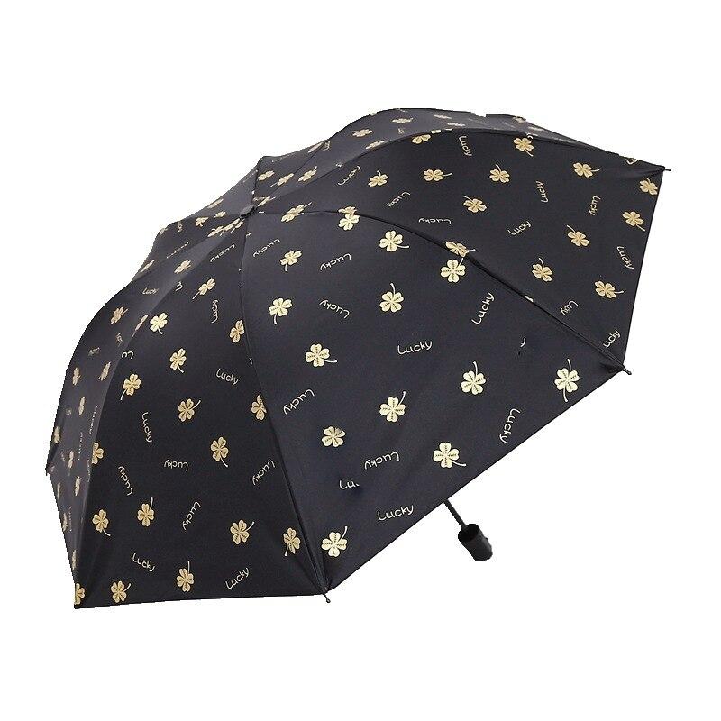 Umberlla Folding Umbrella Female Rain Dual-Use Small Fresh Double Student Automatic Parasol Sunscreen Anti-Uv Sun Umbrella@Uv Blue