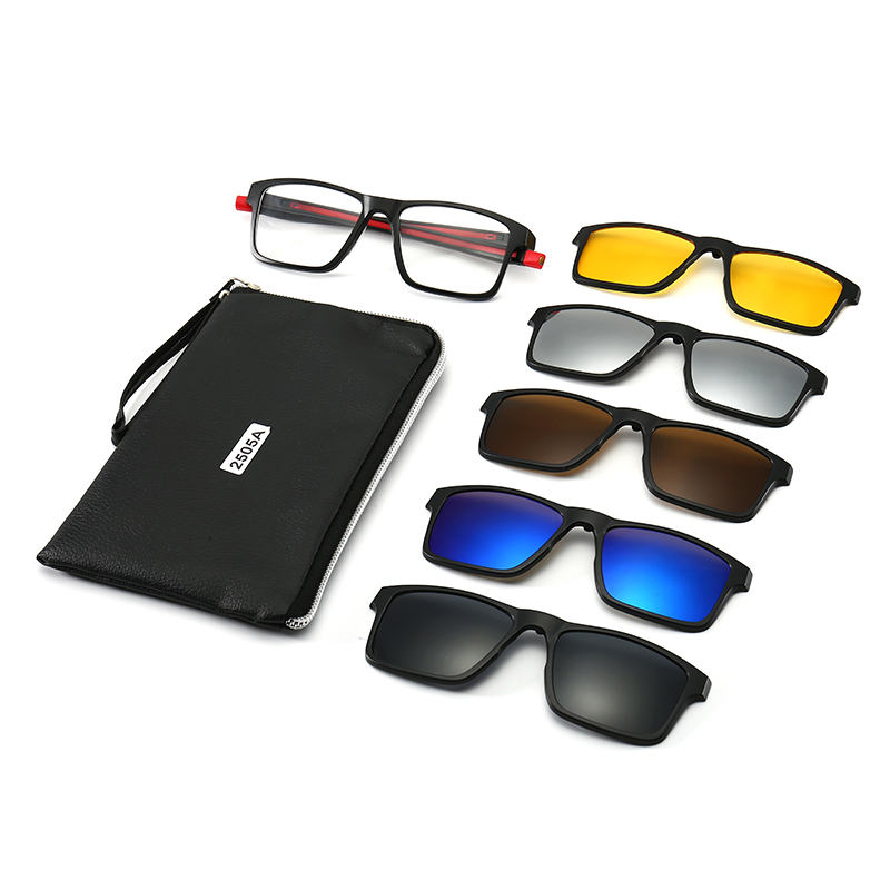 Polarized <font><b>Sunglasses</b></font> <font><b>Men</b></font> Women <font><b>5</b></font> <font><b>In</b></font> <font><b>1</b></font> <font><b>Magnetic</b></font> <font><b>Clip</b></font> <font><b>On</b></font> Glasses Optical Prescription Eyewear Frames Eyeglasses New Hanging Neck image