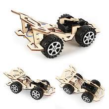 Детская деревянная сделай сам Строительная автомобиля 4-CH электрический спортивный автомобиль модель игрушка для научного эксперимента ин...