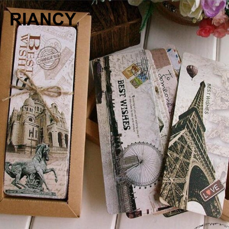 30 Pcs/box Vintage Europe Scenery Eiffel Tower London Paper Bookmarks Office Stationery Supplies Teacher Gifts Marcador 01458