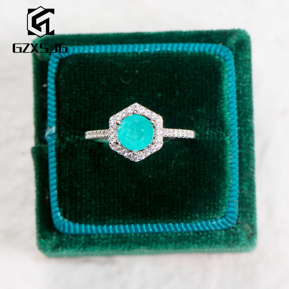 GZXSJG Paraiba Tourmaline Gemstone Ring for Women Solid 925 Sterling Silver Japanese stone Ring for wedding brides gift Size 10