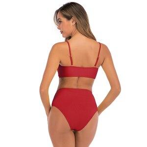 Image 5 - 2020 Sexy Bikini strój kąpielowy kobiety wysokiej talii stroje kąpielowe stałe stroje kąpielowe Push Up Bikini zestaw dwuczęściowy strój kąpielowy kobiet Biquini