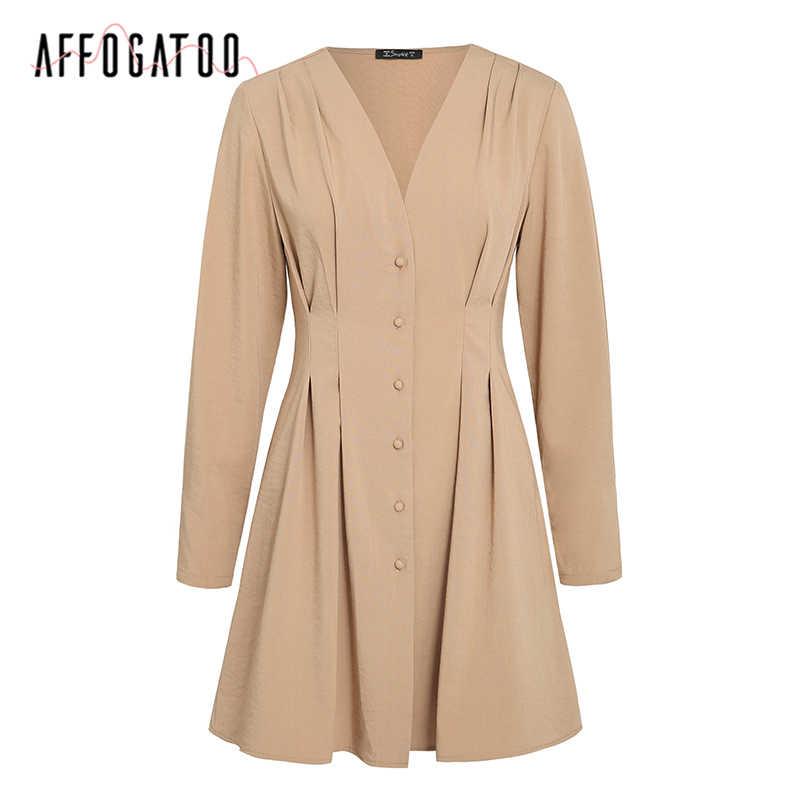 Affogatoo Elegante Sexy V-ausschnitt solide herbst kleid frauen Casual button langarm kurzarm kleid A-line Büro damen kleider 2020