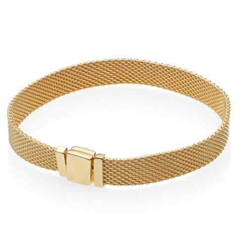 Original 925 Sterling Silber Armband Gold Farbe Glanz Woven Mesh Reflexions Armreif Fit Frauen Perle Charme Diy Mode Schmuck