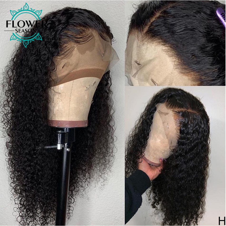 Curly Lace Front Wigs  With Baby Hair 13x4 Lace Frontal   150% Preplucked Bleached Knots Flowerseason 4