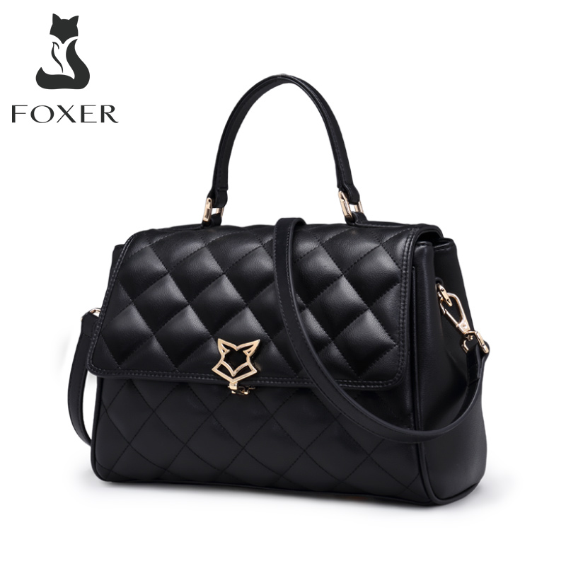 FOXER Women Leather Shoulder Bag Cowhide Lattice Crossbody Bags Lady Handbag With Adjustable Strap Fashion Flap Bag For Female