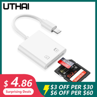 UTHAI-lector de tarjetas C57 para iPhone, dispositivo de lectura de tarjetas de memoria SD, TF, compatible con iOS 13 para iPhone 6/7/8/X/XR/XS Max