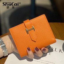2020 Genuine Leather Women Wallet Hasp Small and Slim Coin Pocket Purse Women Wallets Cards Holders Luxury Brand Wallets Designe