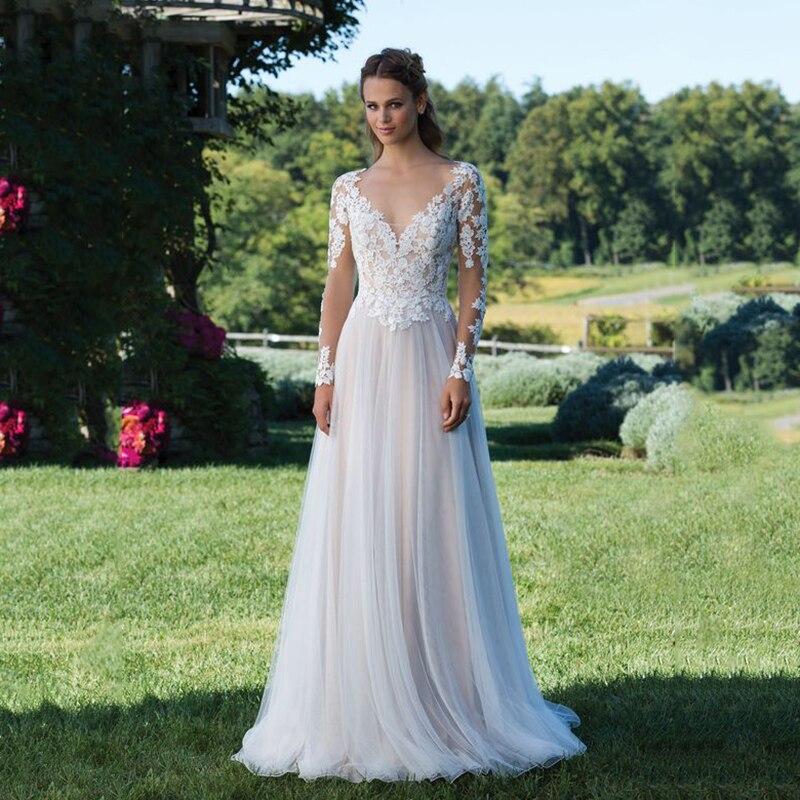 Long Sleeve Illusion Boho Wedding Dress 2019 Brautkleid Sexy Transparent Wedding Gown Fashion V-neck Lace Bridal Dress