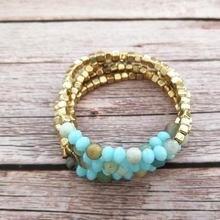4 шт./компл. ZWPON золотистый куб бусины CCB стеклянные бисерные браслеты для женщин позолоченные эластичные натуральный камень Набор браслетов ювелирные изделия