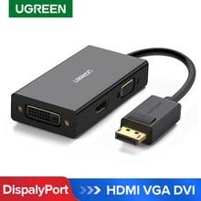 Adaptador dp para hdmi vga dvi ugreen 3 em 1, conversor de porta de exibição macho para fêmea projetor hp para laptop