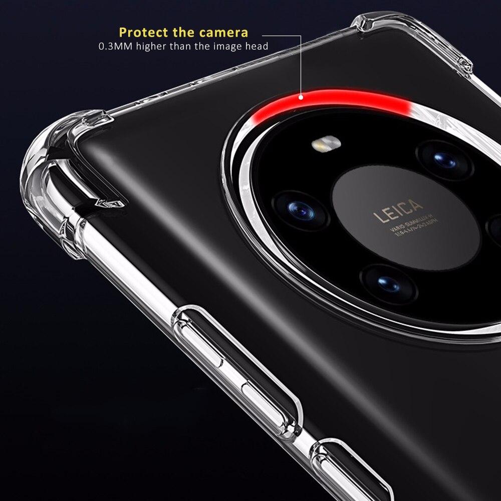 Супер Противоударный прозрачный мягкий чехол для Huawei Mate 40 Pro Plus, Прозрачный Силиконовый противоударный чехол с подушкой безопасности для ...