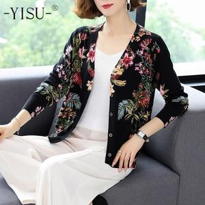 YISU Women Casual soft Cardigan Autumn Winter Knit Top Soft Sweater Coat Long sleeve V-neck Floral print knitted cardigan Women