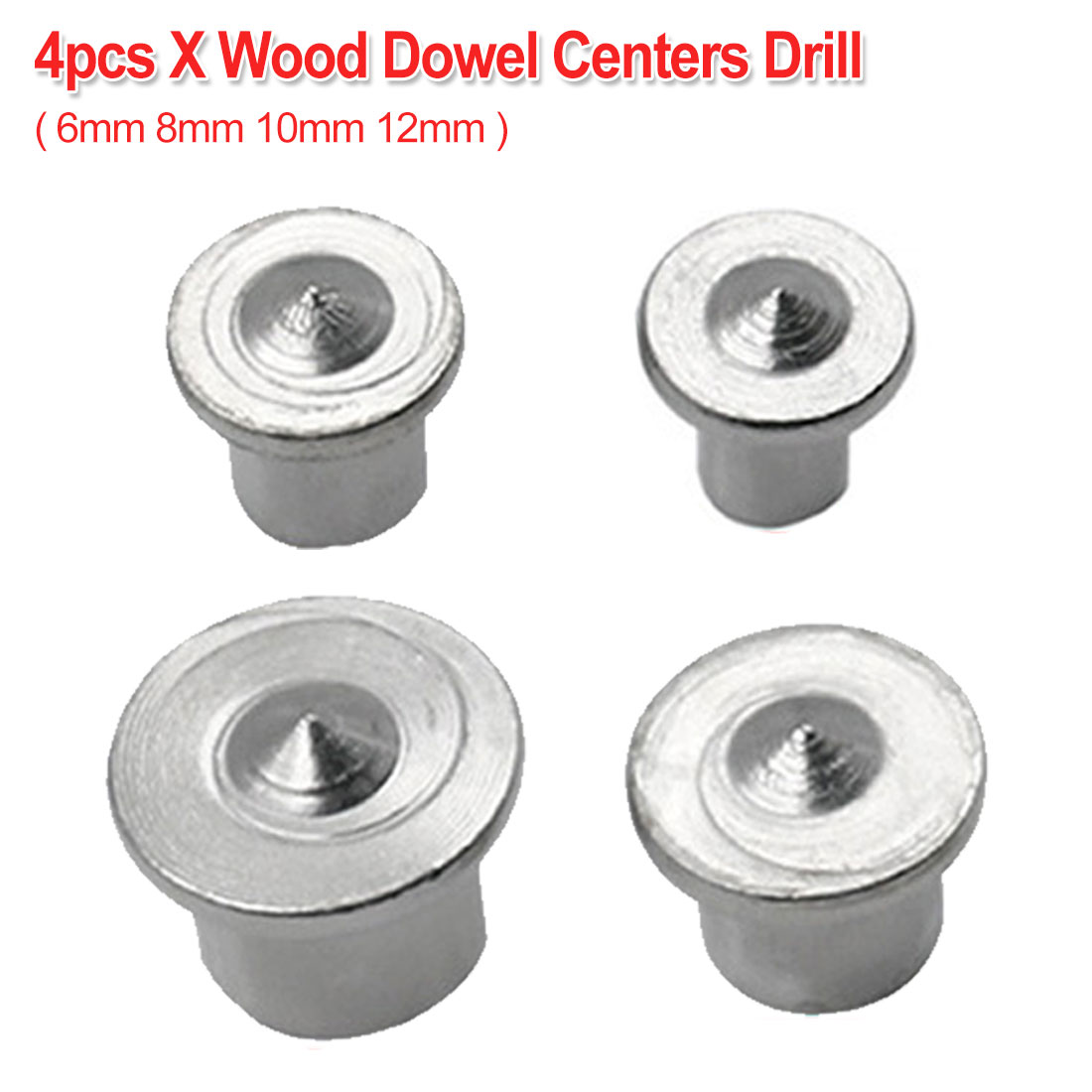 4pcs Dowel Centre Point Pin Set 6mm 8mm 10mm 12mm Dowel Tenon Center Set Woodworking Tool Transfer Plug Wood Drill Power Tool