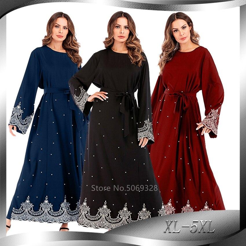 Randolly Womens Dresses,Women Muslim Arab Islamic Middle East Ethnic Solid Lace Long Sleeve Abaya Dress