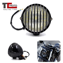 4-7/8'' Motorcycle Refit Headlight Retro Scalloped Motorcycle LED Headlamp For Harley Cafe Racer Chopper Bobber Touring Custom universal led angel eye projector daymaker high low beam headlight cruiser chopper cafe racer old school bobber touring