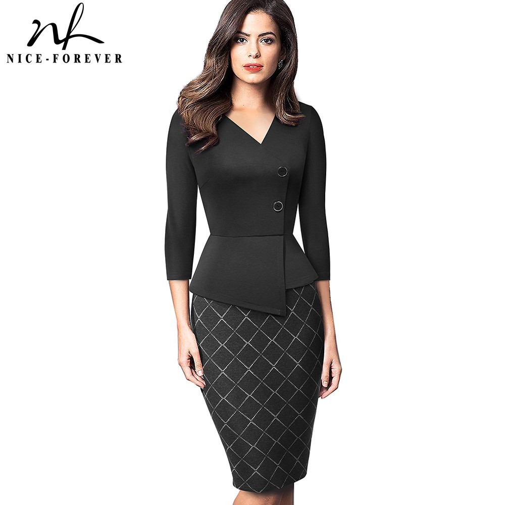 Nice-forever Elegant Patchwork With Button Work Office Vestidos Business Formal Bodycon Women Winter Dress B564