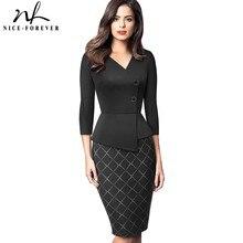 Nice forever elegante retalhos com botão trabalho escritório vestidos negócios formal bodycon vestido de inverno feminino b564