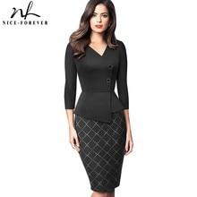 Ładnie na zawsze elegancka, patchworkowa z guzikiem praca biuro vestidos biznes formalne Bodycon kobiety zimowa sukienka B564