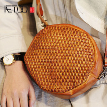 AETOO Handmade knitting bag, female oblique leather small round new retro cute literary shoulder bag