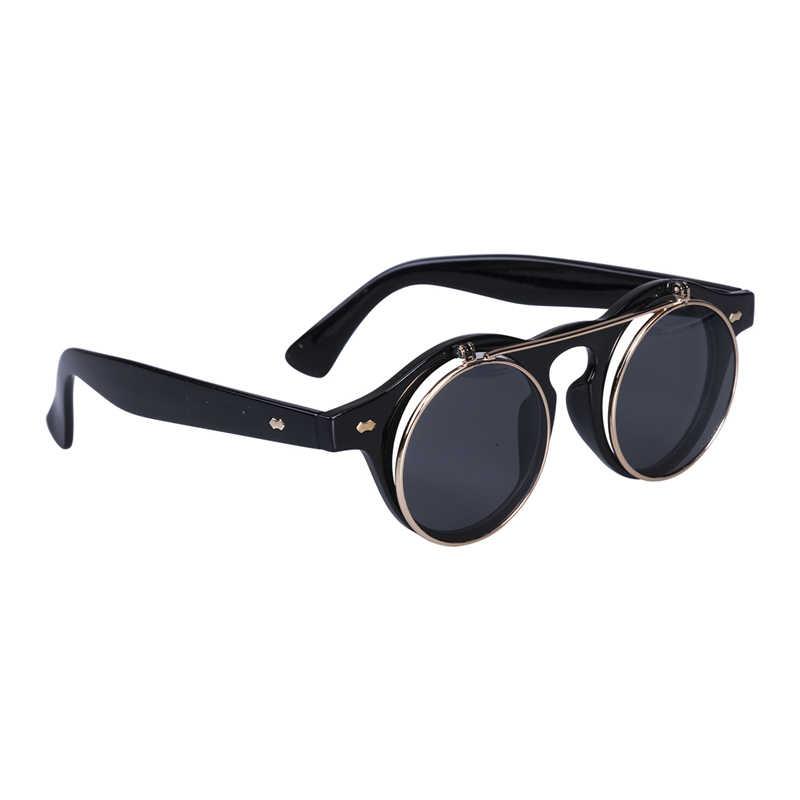 ผู้ชายผู้หญิงRetro Steampunk Gothแว่นตาFlip Upรอบแว่นตากันแดดVintageของขวัญสีดำสีน้ำตาลแว่นตา