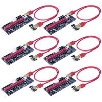 Promotion VER009S 6 Pack PCI E 16x to 1x Powered Riser Adapter Card w/4PIN, SATA and Graphic Card 6PIN Interface 60cm USB 3.0